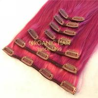 Clip in hair extensions pink color X87
