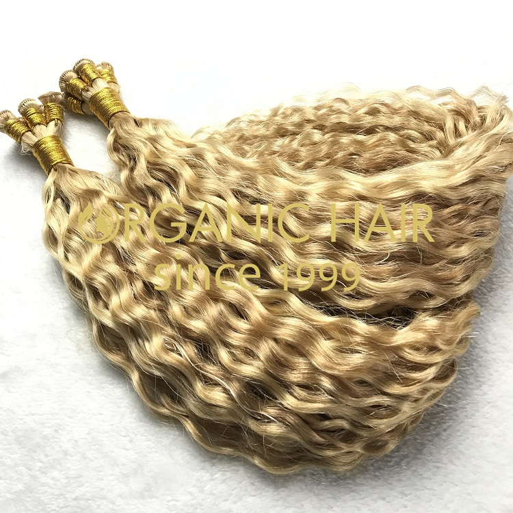 High quality human hair curly hand tied weft I17