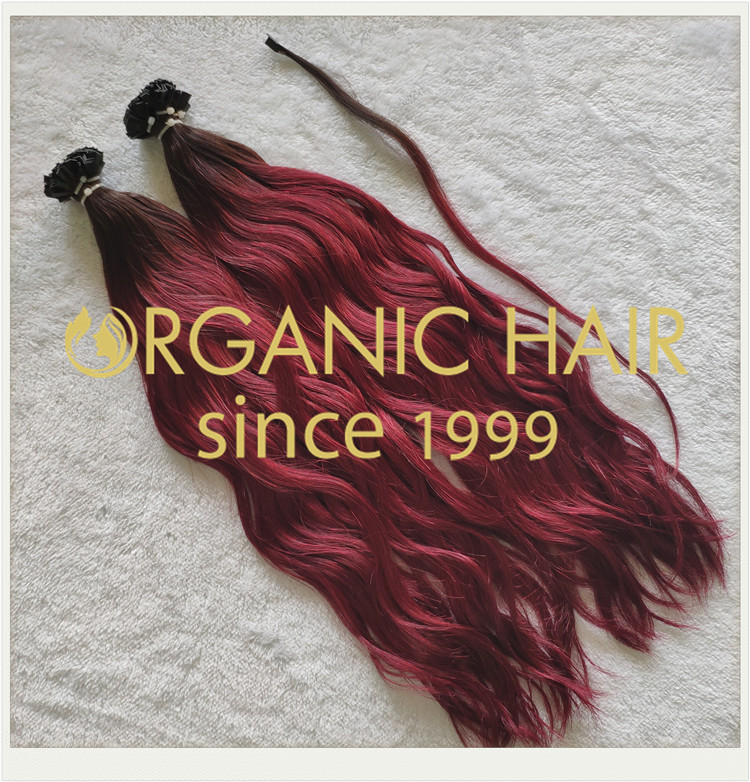 Custom color flat tip natural straight hair extensions CNY005