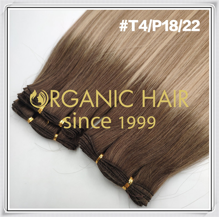 Custom color #T4/P18/22 wholesale hand tied hair C088
