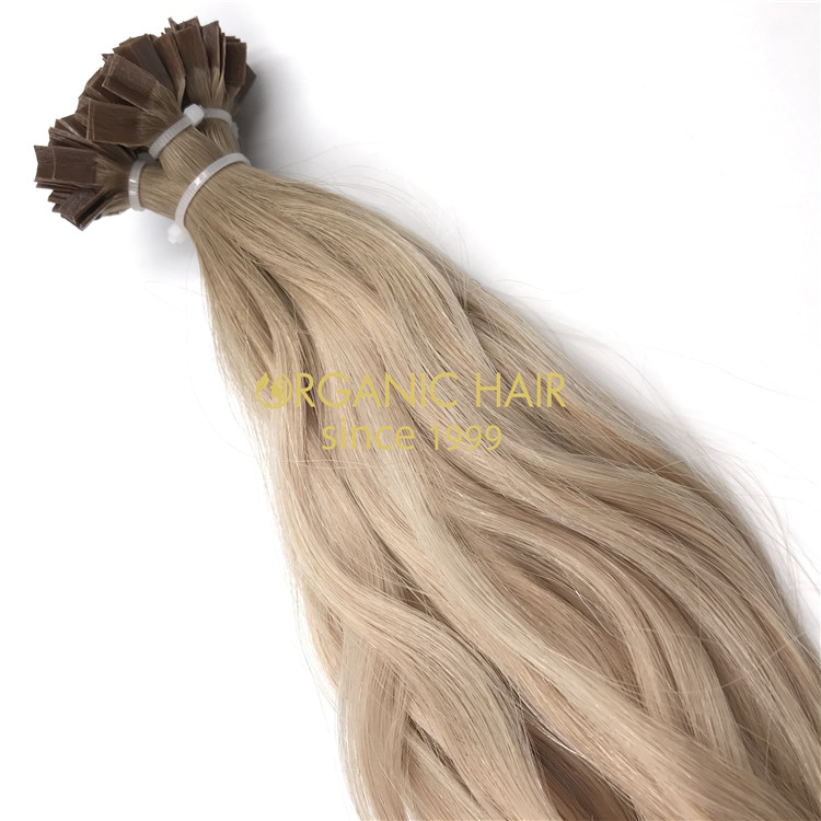 Keratin flat tip hair extensions with customized color X241