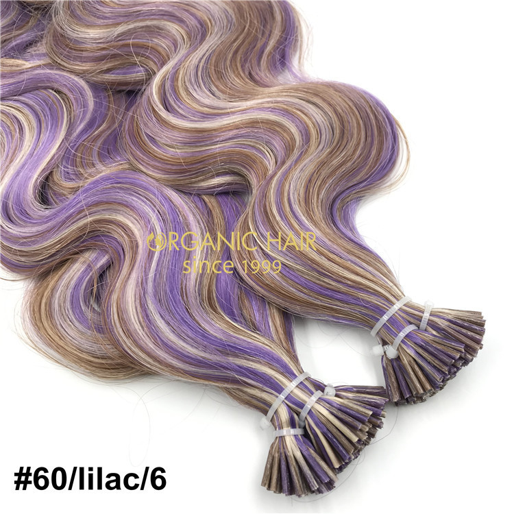 Human customized #60/Lilac/6 color keratin itip X235