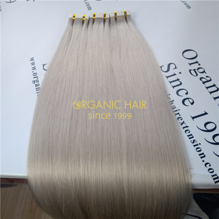 Ash blonde color human tape in hair and good reviews X320