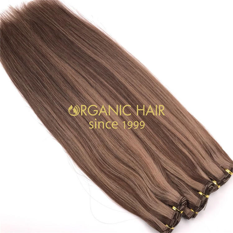 Human cuticle intact hand tied wefts and customized piano color X233