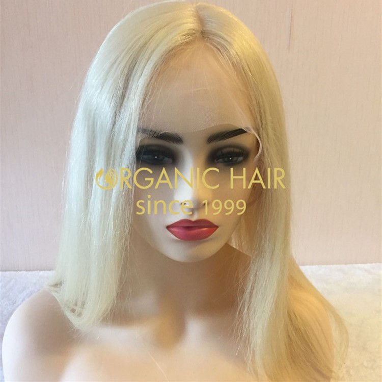 Platinum blonde full lace wig for women H96