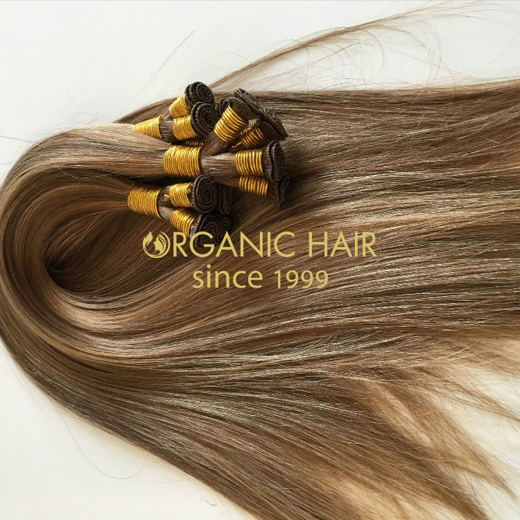 Russian remy hair hand tied weft for cuticle from Chinese factory GT20