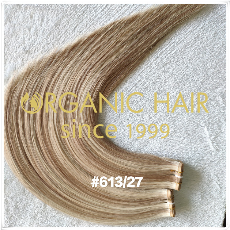 Double drawn custom color flat weft hair extensions CNY031