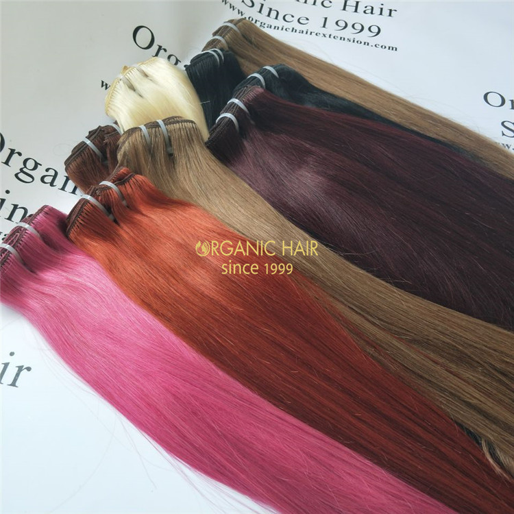 Easy applying remy human hair clip in extensions V72