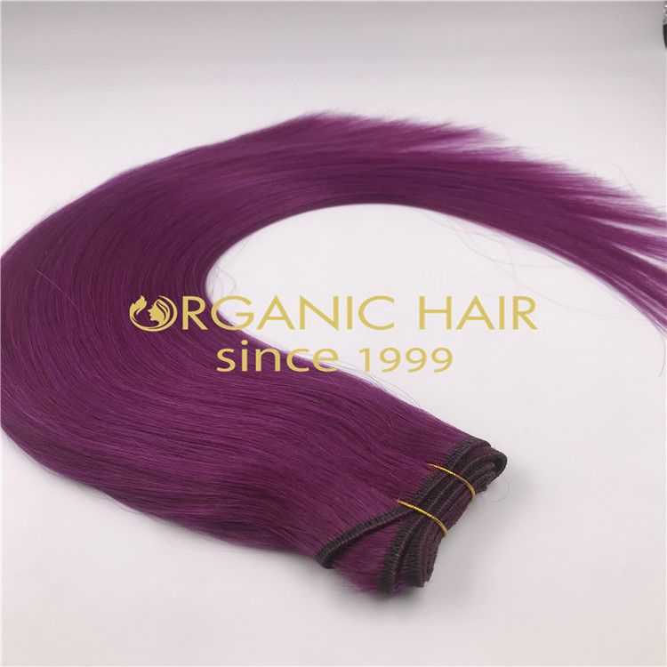 Premium purple hair weft extensions H264