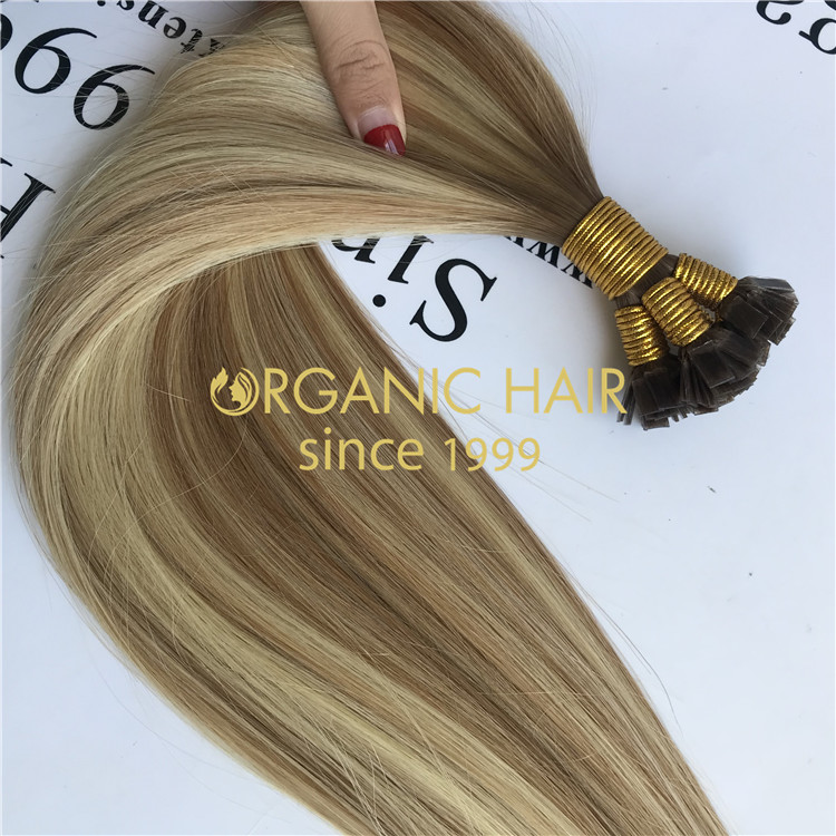 Cuticle aligned hair extensions ombre color flat tip  H95