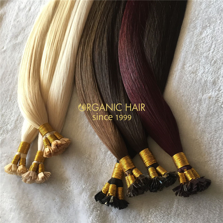 Keratin flat tip hair extensions on sale X168