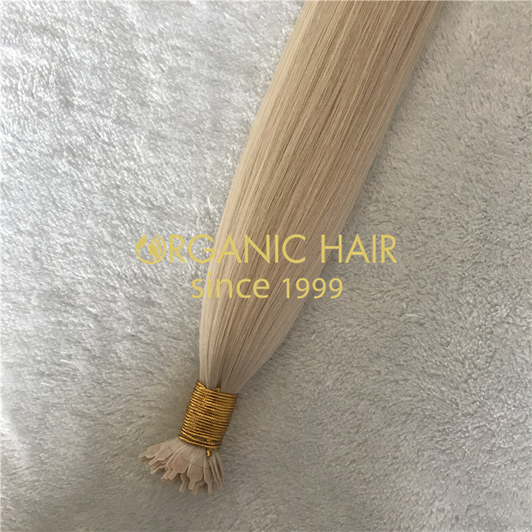 Lightest blonde Flat Tip Hair Extensions-Oganic Hair H180
