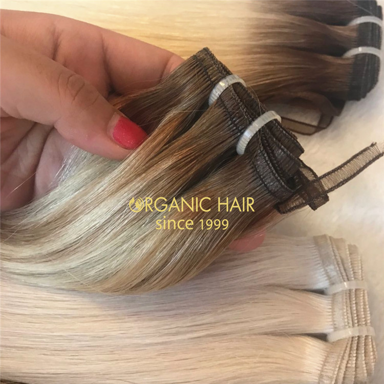 Double drawn remy human flat weft hair extensions A132