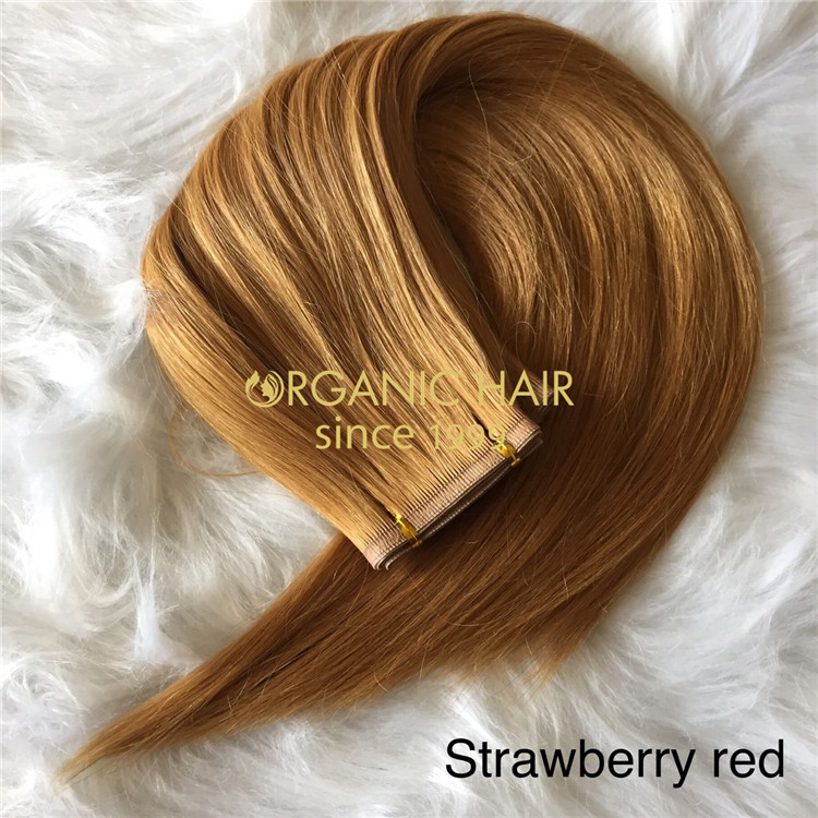 Strawberry red color remy cuticle flat wefts hair A205