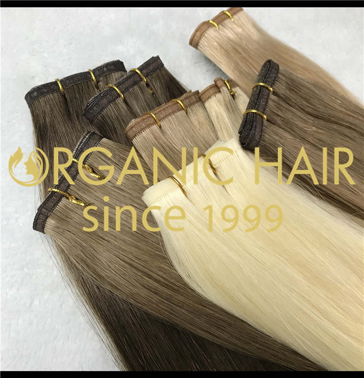 Flat weft seamless weft hybrid weft hair extensions CNY020