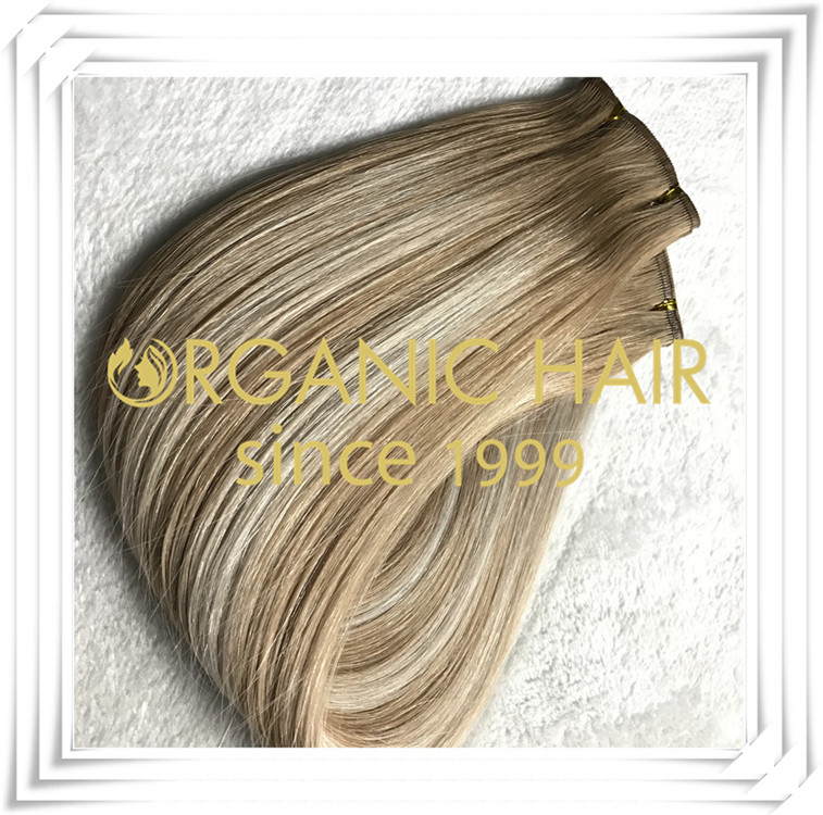 Flat weft custom color top quality hair extension C008