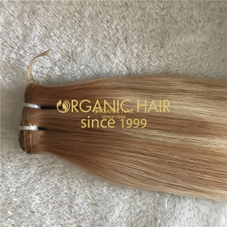 Highlighted flat weft hair extensions H124