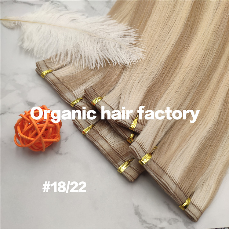 Popular piano color 18/22 flat weft full cuticle hair extensions CNY001