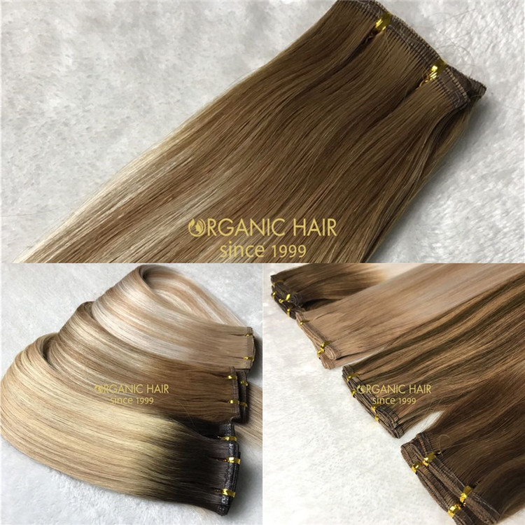Good news! Human full cuticle flat weft hair extensions on sale X179
