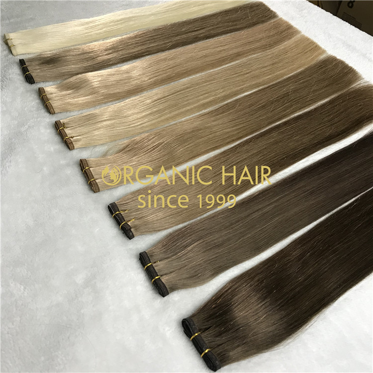 Customized color human full cuticle hair falt wefts X214