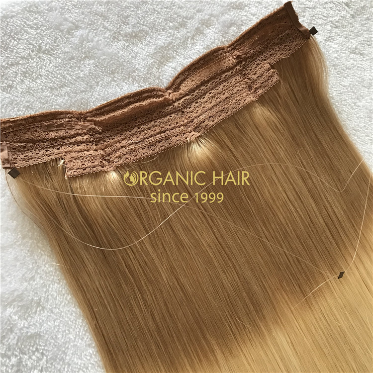 Human full cuticle halo hair rooted color X204