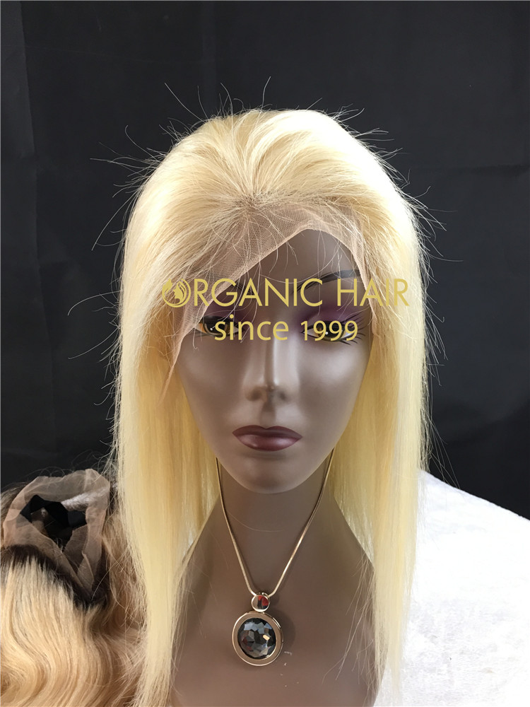 #613 blonde color Straight Virgin human hair lace front wig with silk base h11
