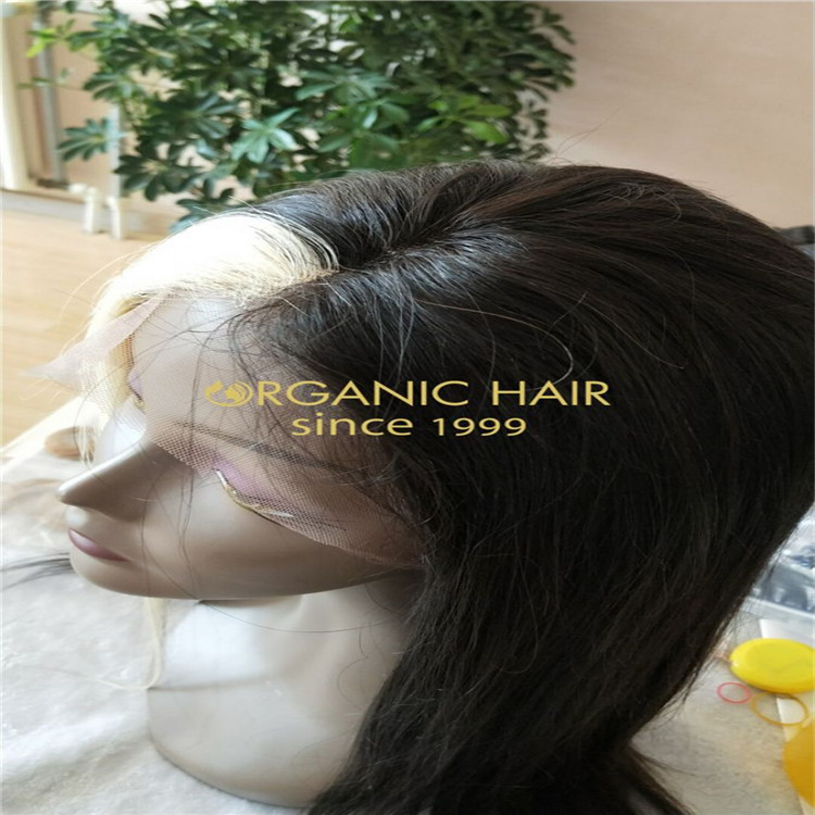 A personality and characteristic blonde patch in the middle full lace wigs A8