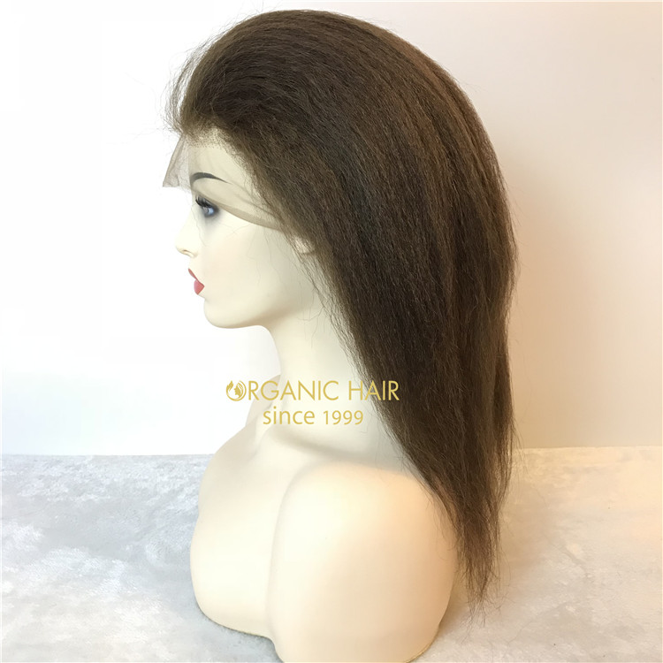 Full lace wigs human hair on sale kinky straight #4 & natural color X104