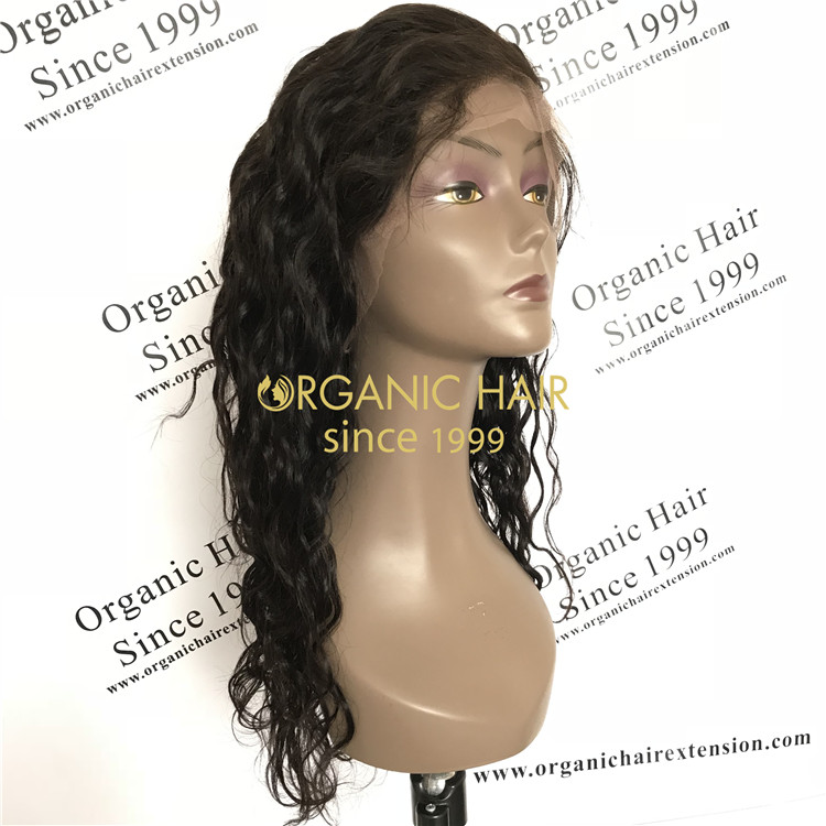 Cheap human full lace wig natural wave 150% density X60
