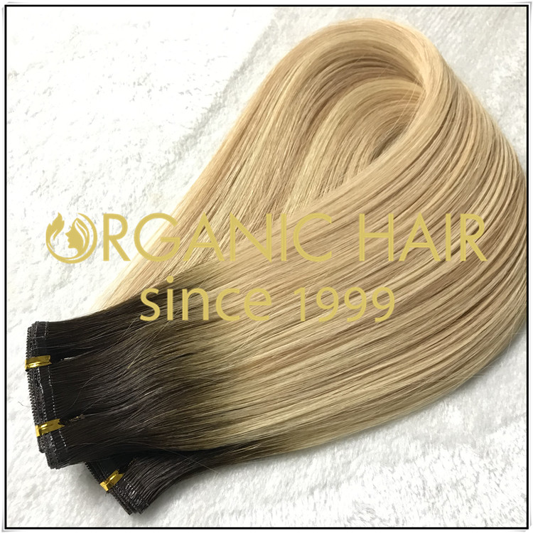 Full cuticle double drawn flat weft hair extension C023