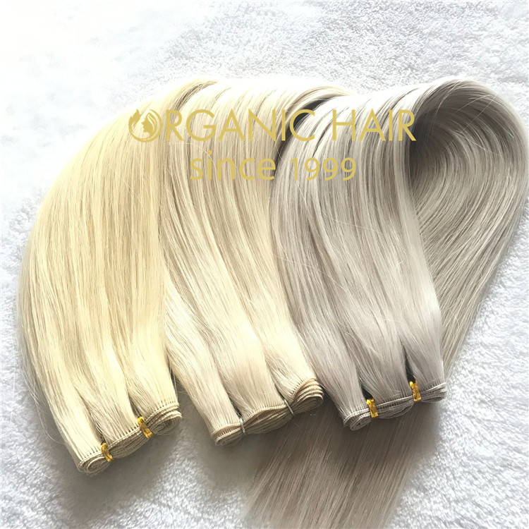 Full cuticle double drawn human virgin hair handtied weft C105