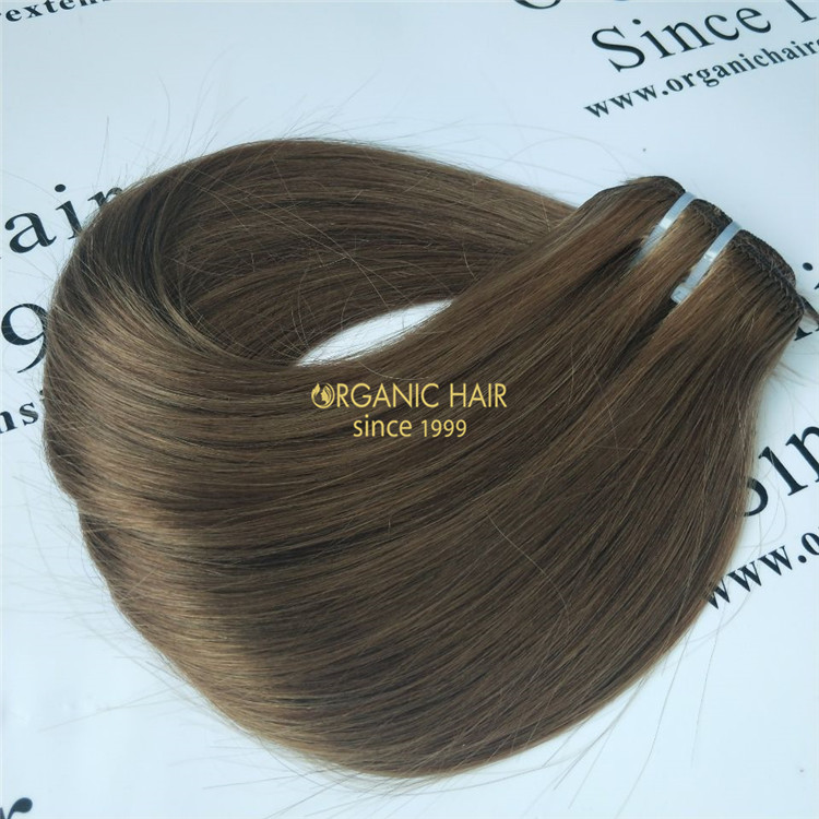 Human hair clip for extensions brown color X63