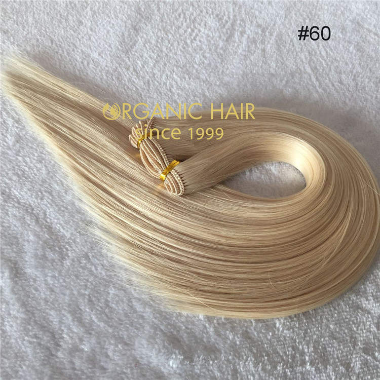 Top quality hair extensions hand tied weft--color #60   C33