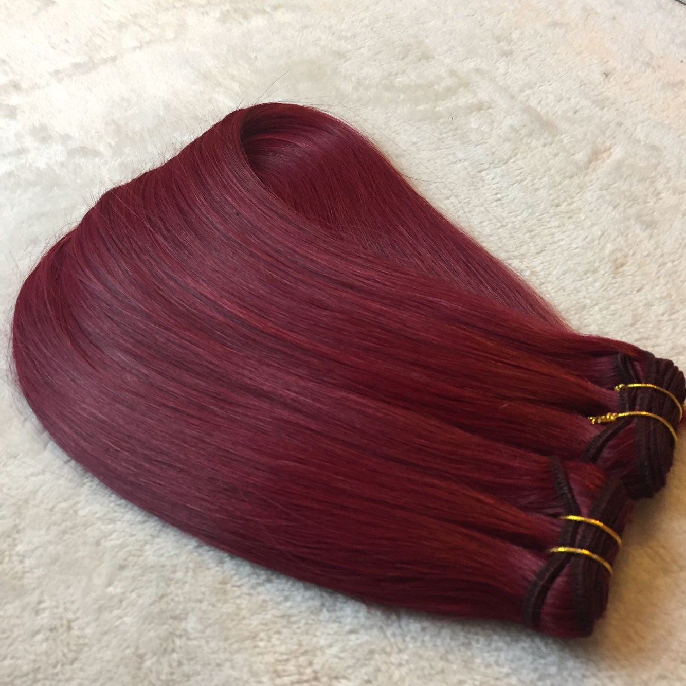 Hair extensions to order--Muchine hair weft color BURG  C22