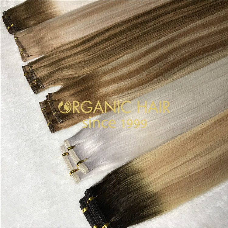New Productlace Hand Tied Weft Hair Extensions Color 60 H41 China