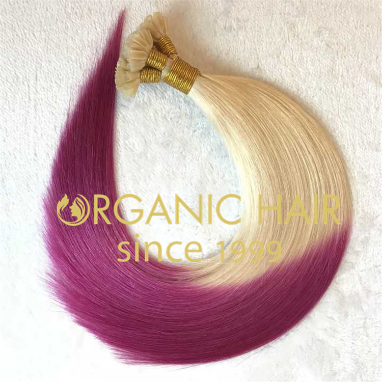 Fuscia color i tip hair extensions H79