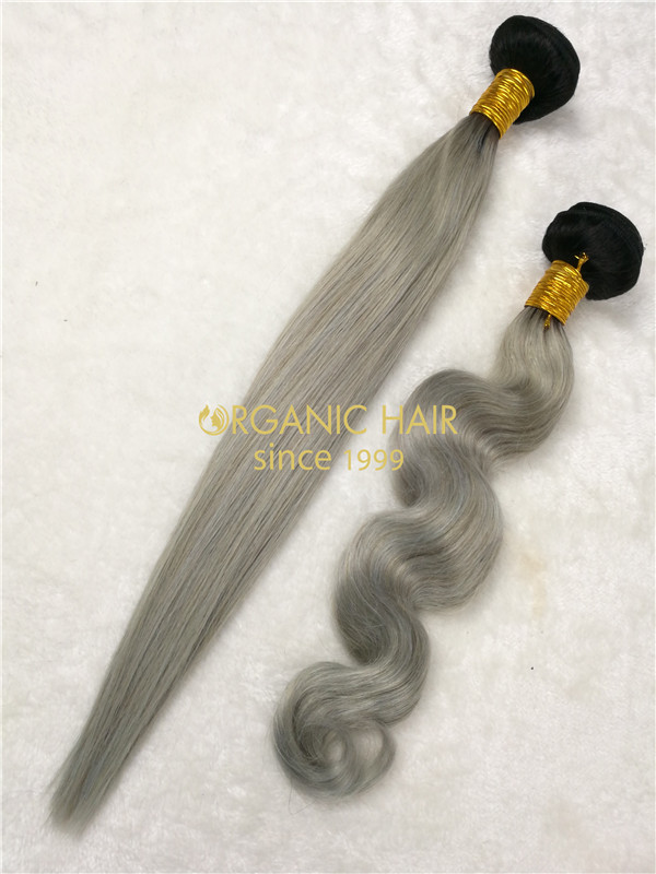 Wholesale colored virgin hair extensions weaves 1B/Gray X32