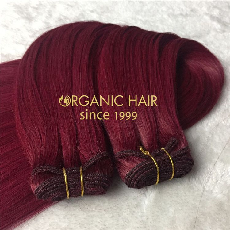 Human best hair machine weave Burg color X129