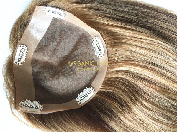 Human hair wiglet topper with bangs
