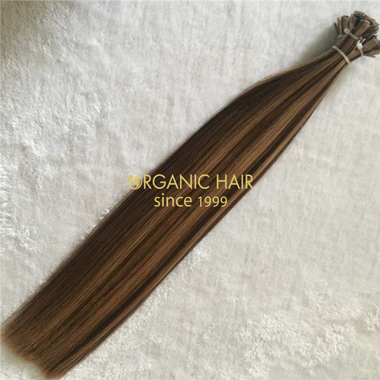 Wholesale colorful human flat tip hair extensions V17