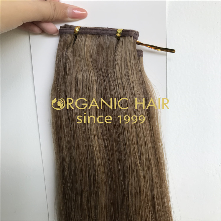 Brown piano color hybrid weft extensions H313