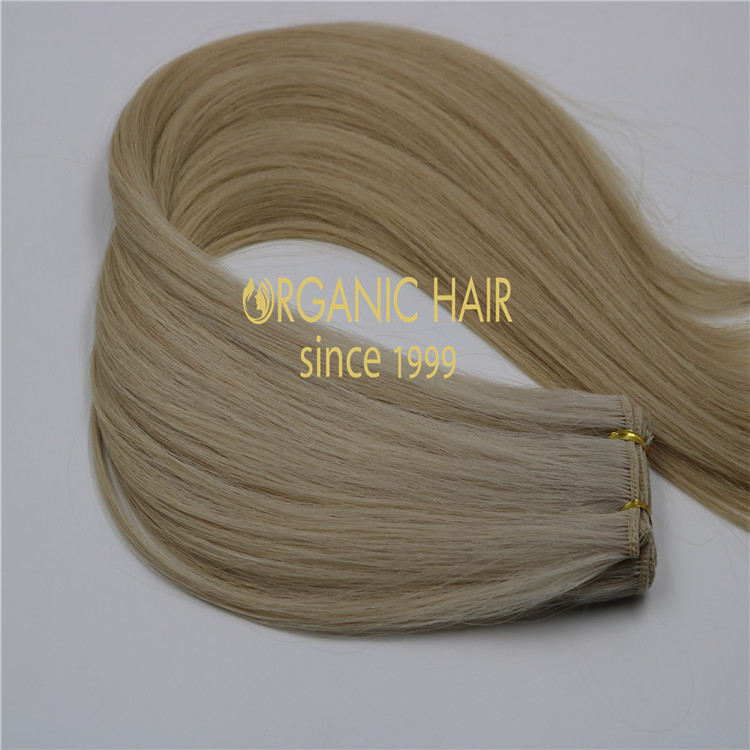 Blonde human machine tied wefts H230