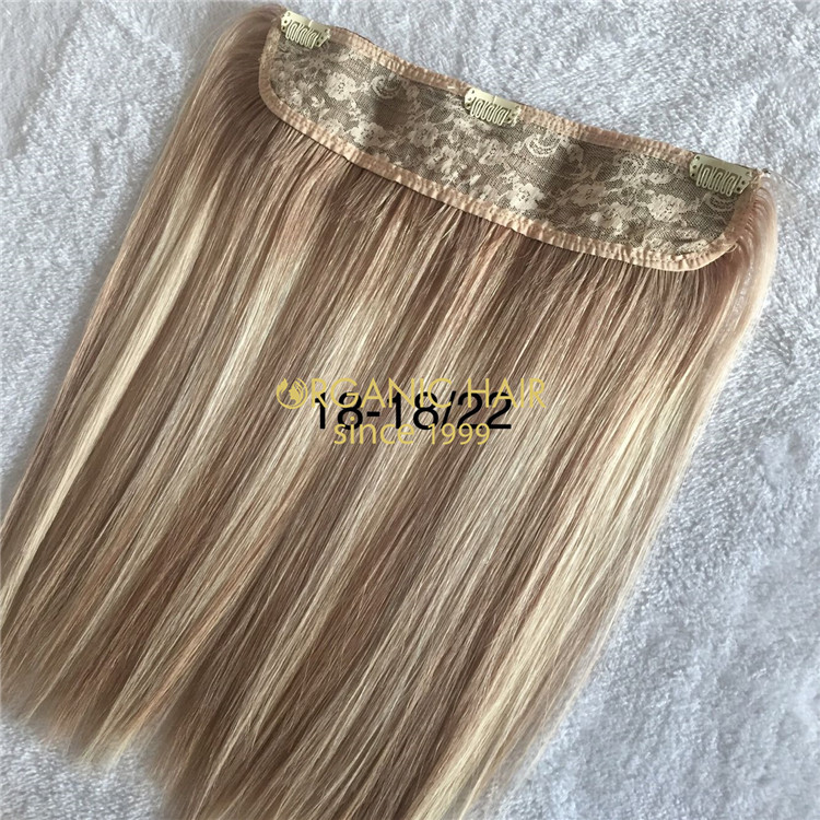 Human high quality full cuticle halo hair extensions X184