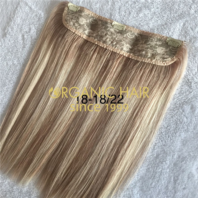 Full cuticle human hair-- halo with clips  C77