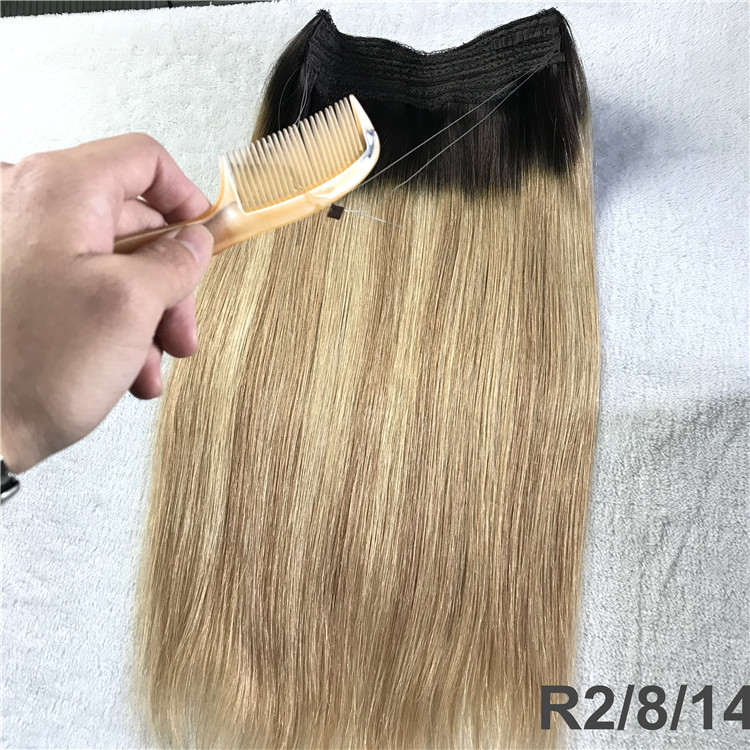 Full cuticle double drawn custom color halo hair extensions  CC119