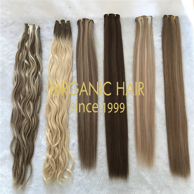 Mixed color--hand tied hair extensions.natural wave H129