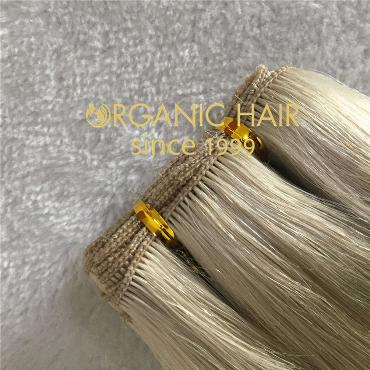 Blonde hand tied hair extensions H158