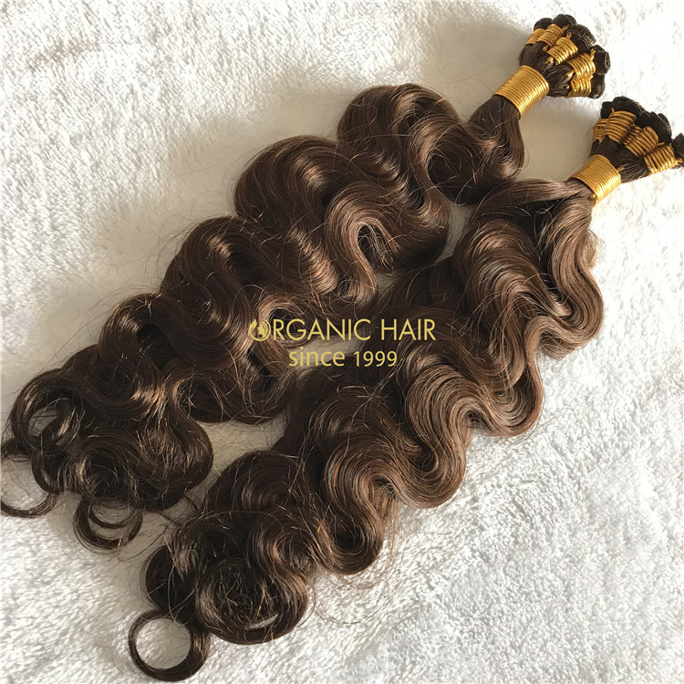 Human hand tied wefts hair extensions body wave X193