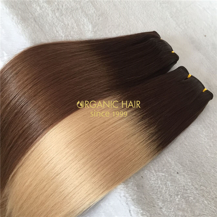 Ombre color human hand tied weft on sale X149