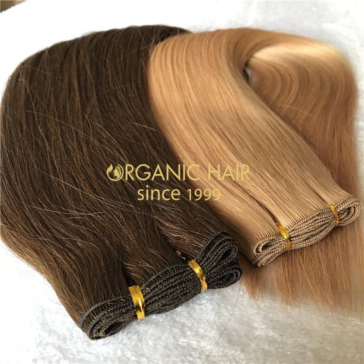 Human customized full cuticle hand tied wefts on sale X178